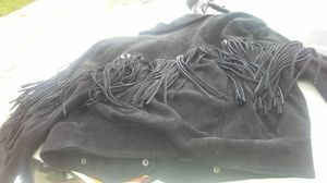 Vintage leather jacket black with fringe for Sale in Frederick, MD