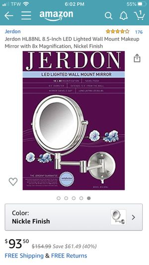 Jerdon Hl88nl 8.5 inch Led lighted wall mount mirror for Sale in Richmond, VA