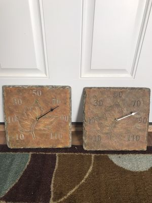 FREE: Faux Slate Outdoor Thermometers w/ Leaf Imprint for Sale in Huntersville, NC