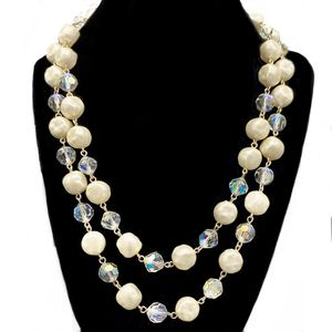 Vintage 1950s Japan Double Stand Repeating Large Simulated Cream Pearls Round Faceted Clear AB Crystal Beads Chocker Necklace, Bridal Jewelry for Sale in Briarcliff Manor, NY