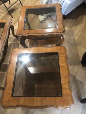 Wood/glass coffee and end table set for Sale in Newport Beach, CA