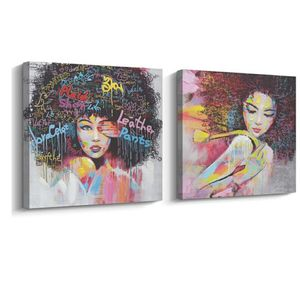 Brand new African American Black Art Canvas Wall Art, Pop Graffiti Style Canvas Oil Painting on Print (40 x 40 inch, C Framed & D Framed for Sale in El Segundo, CA