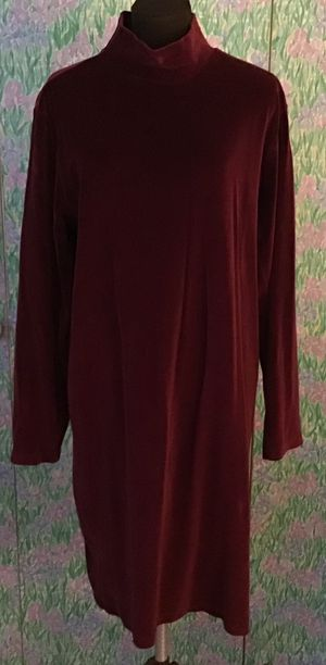 Lands End Burgandy velour dress size 14-16 for Sale in Levittown, PA