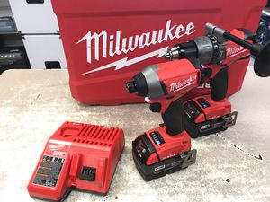 "M18 FUEL™ with ONE-KEY™ 1/2"" Hammer Drill/Driver + M18 FUEL™ with ONE-KEY™ 1/4"" Hex Impact Driver + M18™ & M12™ Multi-Voltage Charger + (2) M18 18-Vo for Sale in Austin, TX"