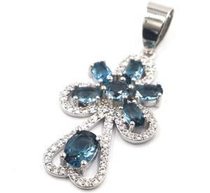Sterling Silver.925 London Blue Topaz And CZ Pendant for Sale in Santee, CA