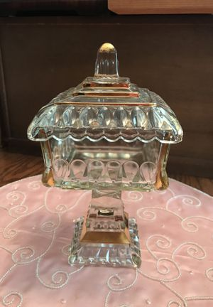 Pretty Vintage Glass candy dish or container with gold trim for Sale in Gainesville, VA