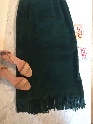 Genuine Suede Skirt with Fringe (size 6) for Sale in Scottsdale, AZ