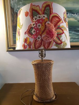 Vintage Rattan lamp base w/Anthopologie style shade for Sale in Hyattsville, MD