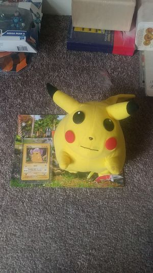 2 for 1 Toy New still has tag 1999 Pokemon First issued Pikachu card 87/130 and Stuffed collectable for Sale in Essington, PA