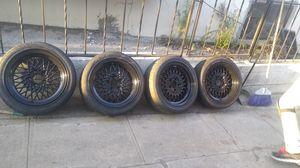 5 lug aftermarket rims black 16 similar to the enkei wheels for Sale in Los Angeles, CA