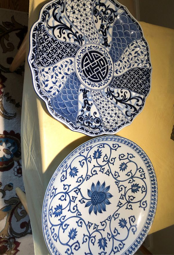"""Two Chinese antique blue & white porcelain platters 18"""""""
