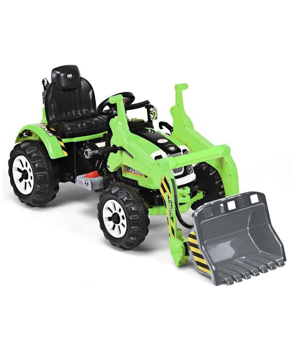 12V Battery Powered Kids Ride On Excavator, Electric Truck with High/Low Speed, Moving Forward/Backward, Front Loader Digger (Green)