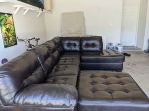 Faux Leather Sectional Couch for Sale in Palm Desert, CA