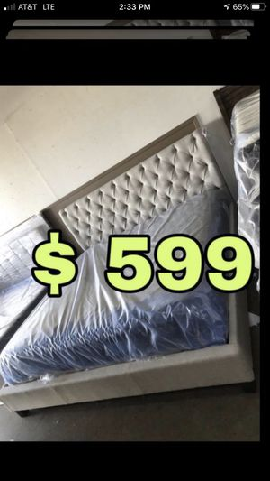 Beautiful new King size mattress with tufted king bed frame only 599$!!! Original price 2,404$!!! for Sale in San Leandro, CA