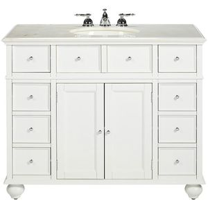 New Sonoma 36 in. W x 22 in. D Bath Vanity in White with Carrara Marble Top with White Sinks for Sale in Euless, TX