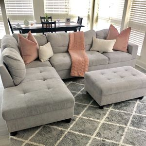 Grey sectional with Ottoman for Sale in Washington, DC