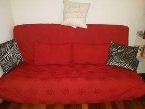 Queen size futon with storage space, cover and 2 matching pillows, very good shape for Sale in New York, NY