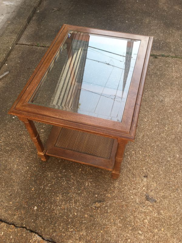 Glass top wood end table