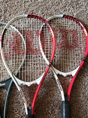 3 Wilson Tennis Rackets Power Strings and Stop Shock Pads for Sale in Richmond, CA