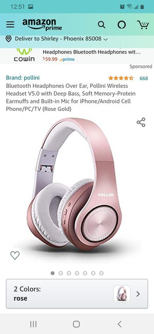 Bluetooth Headphones Over Ear, Pollini Wireless Headset V5.0 with Deep Bass, Soft Memory-Protein Earmuffs and Built-in Mic for Sale in Phoenix, AZ