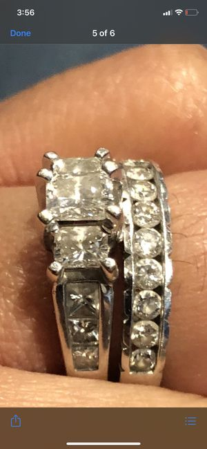 White gold princess cut engagement ring an wedding ring for Sale in Fresno, CA