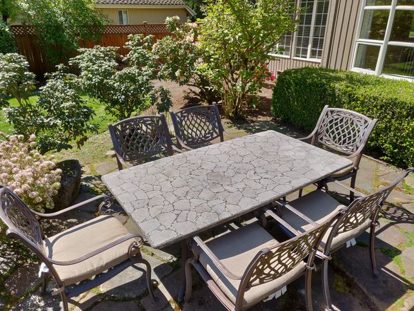 Outdoor Stone Table Dining Set for Sale in Sammamish, WA ...