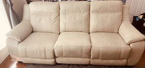 Beige leather recliner couch for Sale in Daniels, MD