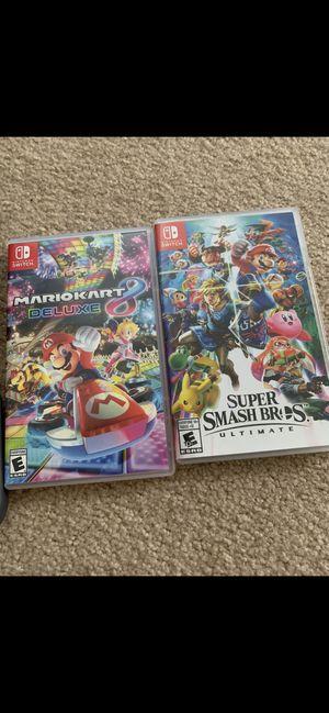 Nintendo Switch Super Smash Bro's Ultimate and Mario Kart 8 Deluxe for Sale in Irvine, CA