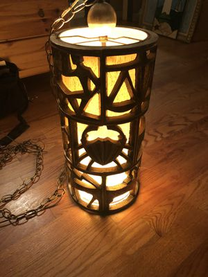 Vintage rare mid-century Zodiac carved pendant hanging lamp for Sale in Toms River, NJ