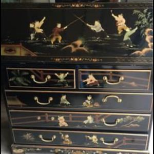 RARE Vintage Chinese Asian Black Lacquer Chinoiserie Secretary Desk Hutch Hand Painted for Sale in Jackson Township, NJ