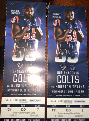 Two Houston Texans tickets for sale vs Colts TNF for Sale in Houston, TX