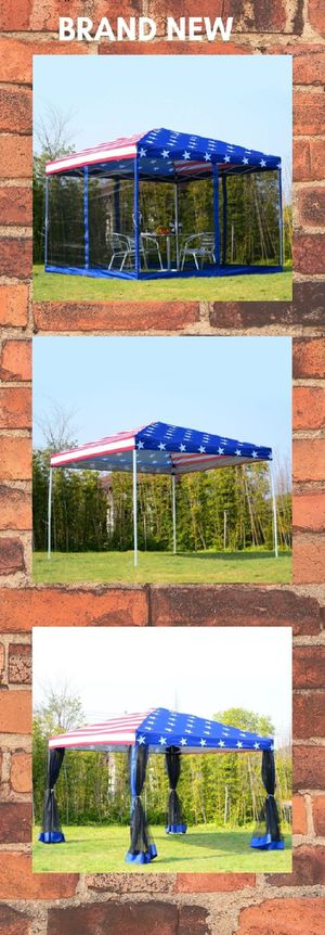 10x10 EZ Pop Up Party Wedding Tent Patio Gazebo Canopy Outdoor Mesh US Flag Bag for Sale in Henderson, NV