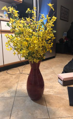 Red vase with yellow flowers for Sale in Melrose, MA