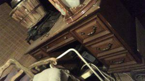 solid wood seven drawer desk for Sale in Magna, UT