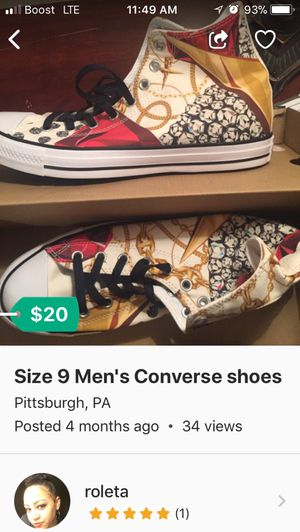 Size 9 Men's Converse shoes for Sale in Pittsburgh, PA