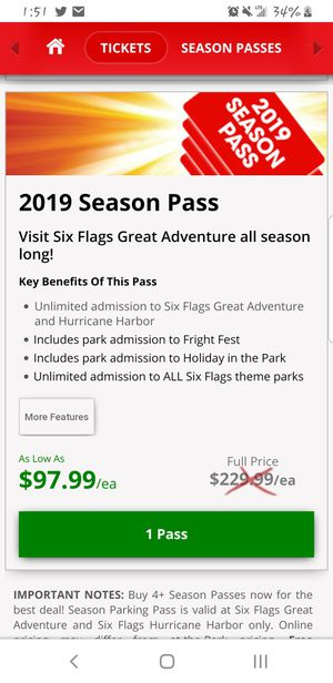 4..Six flags Season pass for Sale in Waterford, NJ