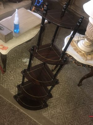 Beautiful 5 tier corner stand and three tier shelf brown and gold for Sale in Brea, CA