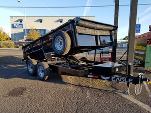 7X12 TANDEM AXLE EAGLE DUMP 10K, SCISSOR LIFT, Ramps and D-rings, roll mesh tarp for Sale in Cornelius, OR