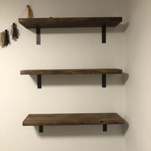 (3) Walnut Stained Wood Shelves w/ Steel Brackets for Sale in Bothell, WA