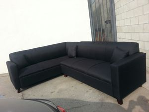 NEW 7X9FT DOMINO BLACK FABRIC SECTIONAL COUCHES for Sale in Paramount, CA