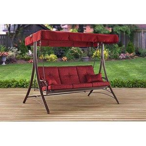 Cali Park 3-Seat Canopy Porch Swing Bed, Red for Sale in Houston, TX