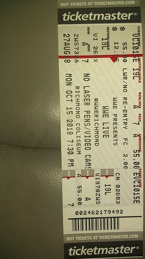 2 lower level seats for Monday night raw tomorrow night for Sale in Richmond, VA