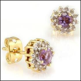 Gorgeous Womens 18K Yellow Gold Over Solid Sterling Silver 1/5 CTW Diamonds and 1.5 CTW Amethyst Designer Earrings for Sale in Detroit, MI