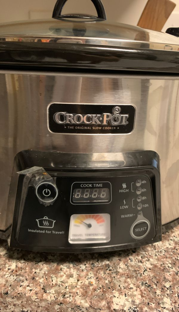 Crockpot 6Qt cook and carry programmable slow cooker with digital timer and stainless steel