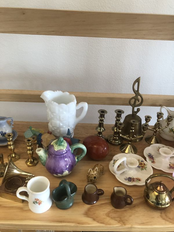 Miniatures and ceramic figurines all together