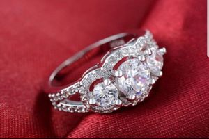 $10 brand new size 8 or 9 silver plated CZ ring for Sale in Manchester, MO