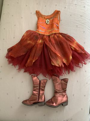 disney fairy dress costume and boots . Size 5/6. Girl costume for Sale in Boca Raton, FL