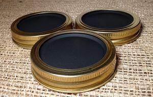Chalkboard 3 Mason Jar Regular Mouth Lid/Ring Brass Powder Coat Finish for Sale in Montezuma, OH
