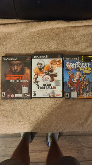 3 ps2 sports games ncaa 10 football Street basketball vol.2 and ESPN 2k4 college hoops for Sale in Newport, MI