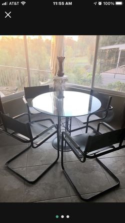Mid Century Modern Round Heavy duty Glass Table Directors Chairs Black for Sale in Baldwin Park,  CA